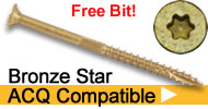 bronze star acq compatible star drive wood screws