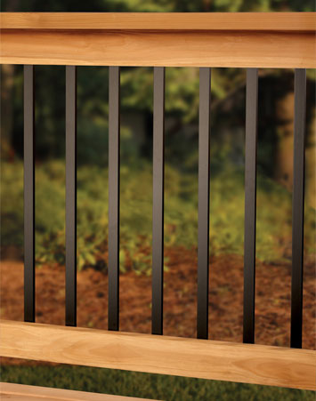 Wooden Deck With Metal Railings