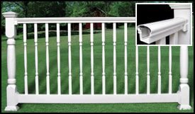 Fairway Contour Vinyl Railing with Turned Balusters