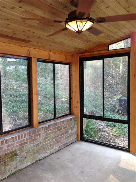 Riviera Slider Windows With Fixed Glass Storms, Riviera Sliders On Brick  Wall